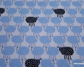 Flannel Fabric - Black Sheep with Blue on White - By the yard - 100% Cotton Flannel