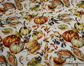 Flannel Fabric - Fall Harvest Pumpkin - By the yard - 100% Cotton Flannel