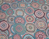 Flannel Fabric - Wildflower Medallions - By the yard - 100% Cotton Flannel