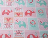 Flannel Fabric - Dream Big Patch Coral Pink - By the yard - 100% Cotton Flannel