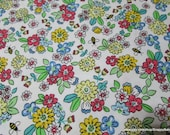 Flannel Fabric - Busy Bee Floral - By the yard - 100% Cotton Flannel