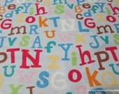 Flannel Fabric - Baby Alphabet - - 1 yard - 100% Cotton Flannel