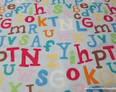 Flannel Fabric - Baby Alphabet - By the yard - 100% Cotton Flannel