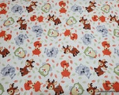Flannel Fabric - Sweet Woodland Buddies on White - By the Yard - 100% Cotton Flannel