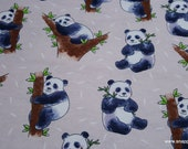 Flannel Fabric - Huggable Pandas - By the yard - 100% Cotton Flannel