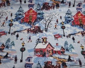 Christmas Flannel Fabric - Holiday Scenic - By the yard - 100% Cotton Flannel