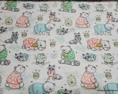 Flannel Fabric - Pajama Honey Party - By the yard - 100% Premium Cotton Flannel
