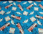 Flannel Fabric - Things That Go Toss - By the yard - 100% Cotton Flannel