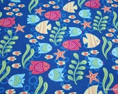 Flannel Fabric - Kissing Fish - By the yard - 100% Cotton Flannel