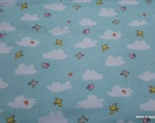 Flannel Fabric - Playful Cuties 3 Clouds and Birds - By the yard - 100% Premium Cotton Flannel