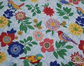 Flannel Fabric - Pattern Trap Birds and Flowers - By the yard - 100% Cotton Flannel