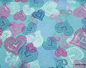 Flannel Fabric - Lace Hearts - By the yard - 100% Cotton Flannel