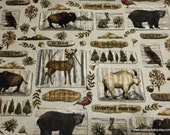 Flannel Fabric - Deep Woods Animal Patch - By the yard - 100% Cotton Flannel