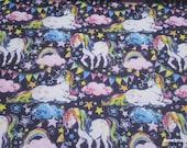 Flannel Fabric - Majestic Rainbow Unicorn - By the yard - 100% Cotton Flannel