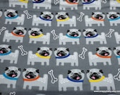 Flannel Fabric - Pugs on Gray - By the yard - 100% Cotton Flannel