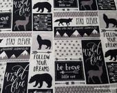 Flannel Fabric - Black White Be Brave Patch - By the yard - 100% Cotton Flannel