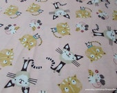 Flannel Fabric - Cats and Mouse on Pink - By the yard - 100% Cotton Flannel