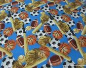 Flannel Fabric - Tossed Sports - By the yard - 100% Cotton Flannel