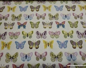 Flannel Fabric - Butterflies in Line - By the yard - 100% Cotton Flannel