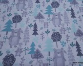 Flannel Fabric - Woods White Bear - By the yard - 100% Cotton Flannel