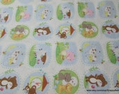 Flannel Fabric - Nursery Rhyme Large Animals - By the yard - 100% Cotton Flannel