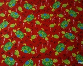 Flannel Fabric - Turtles and Fishies Red - By the Yard - 100% Cotton Flannel