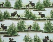 Flannel Fabric - Watercolor Wilderness Scene - By the yard - 100% Cotton Flannel