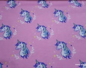 Flannel Fabric - Unicorns Pink - By the yard - 100% Cotton Flannel