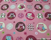 Flannel Fabric - Owl Floral - By the yard - 100% Cotton Flannel