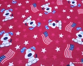 Flannel Fabric - Flag Pups - By the yard - 100% Cotton Flannel