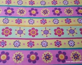 Flannel Fabric - Flower Power Stripe - By the yard - 100% Cotton Flannel