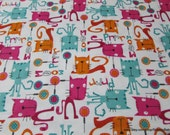 Flannel Fabric - Meow Kitties - By the yard - 100% Cotton Flannel
