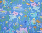 Flannel Fabric - Gardening Kitties - By the yard - 100% Cotton Flannel