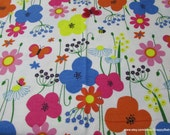 Flannel Fabric - Fun Floral Flowers and Butterflies  - By the yard - 100% Cotton Flannel