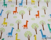 Flannel Fabric - Colorful Giraffes on White - By the yard - 100% Cotton Flannel