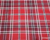 Christmas Flannel Fabric - Holly Plaid - By the yard - 100% Cotton Flannel