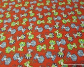 Flannel Fabric - Baby Saber-tooths on Red - By the yard - 100% Cotton Flannel