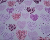Flannel Fabric -Sketched Heart Cluster - By the yard - 100% Cotton Flannel