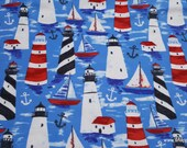 Flannel Fabric - Watercolor Lighthouses - By the yard - 100% Cotton Flannel