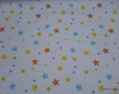 Flannel Fabric - Happy Stars - By the yard - 100% Cotton Flannel