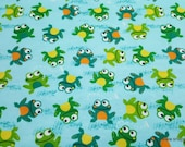Flannel Fabric - Frogs on Watercolor - By the yard - 100% Cotton Flannel