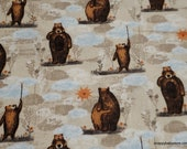 Flannel Fabric - Baby Bear Allover - By the yard - 100% Premium Cotton Flannel