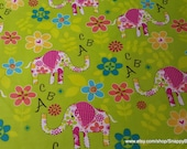Flannel Fabric - ABC Elephants - By the yard - 100% Cotton Flannel