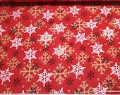 Christmas Premium Flannel Fabric - Gnomies Gold White Black Snowflakes on Red Premium - By the yard - 100% Premium Cotton Flannel
