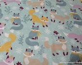 Christmas Flannel Fabric - Winter Foxes - By the yard - 100% Cotton Flannel