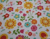 Flannel Fabric - Bloom Where You're Planted Main White - By the yard - 100% Cotton Flannel