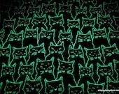 Glow in the Dark Flannel Fabric - Cats Glow in the Dark - By the yard - 100% Cotton Flannel