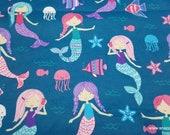 Flannel Fabric - Mermaid Fun - By the yard - 100% Cotton Flannel