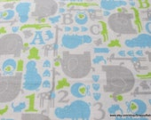 Flannel Fabric - Baby Animals Blue on White - By the Yard - 100% Cotton Flannel