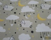 Flannel Fabric - Sheep Moon Clouds - By the yard - 100% Cotton Flannel
